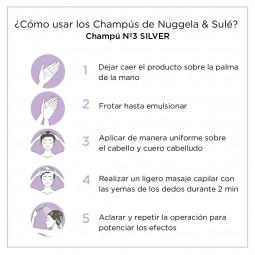 Procediemiento lavado del pelo con Champu Silver Nº3 250ml Nuggela & Sulé